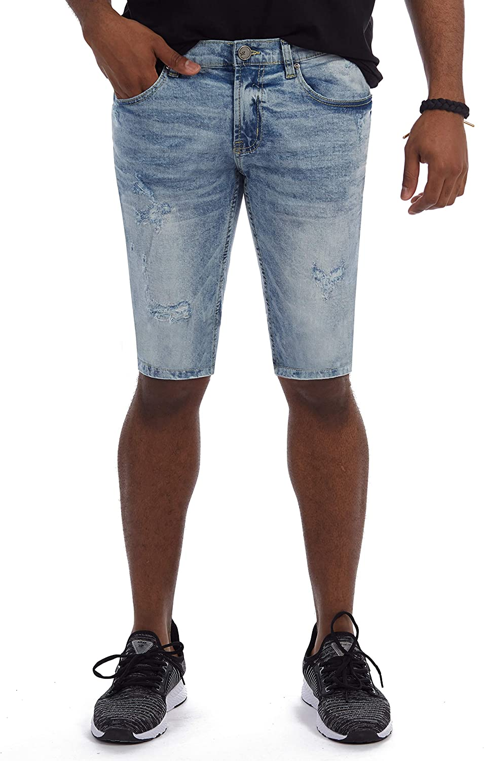 Mens Stretch Casual Denim Shorts Slim Fit X RAY Slim Jean Shorts for Men Rolled Up Cuff Bermuda Short Distressed