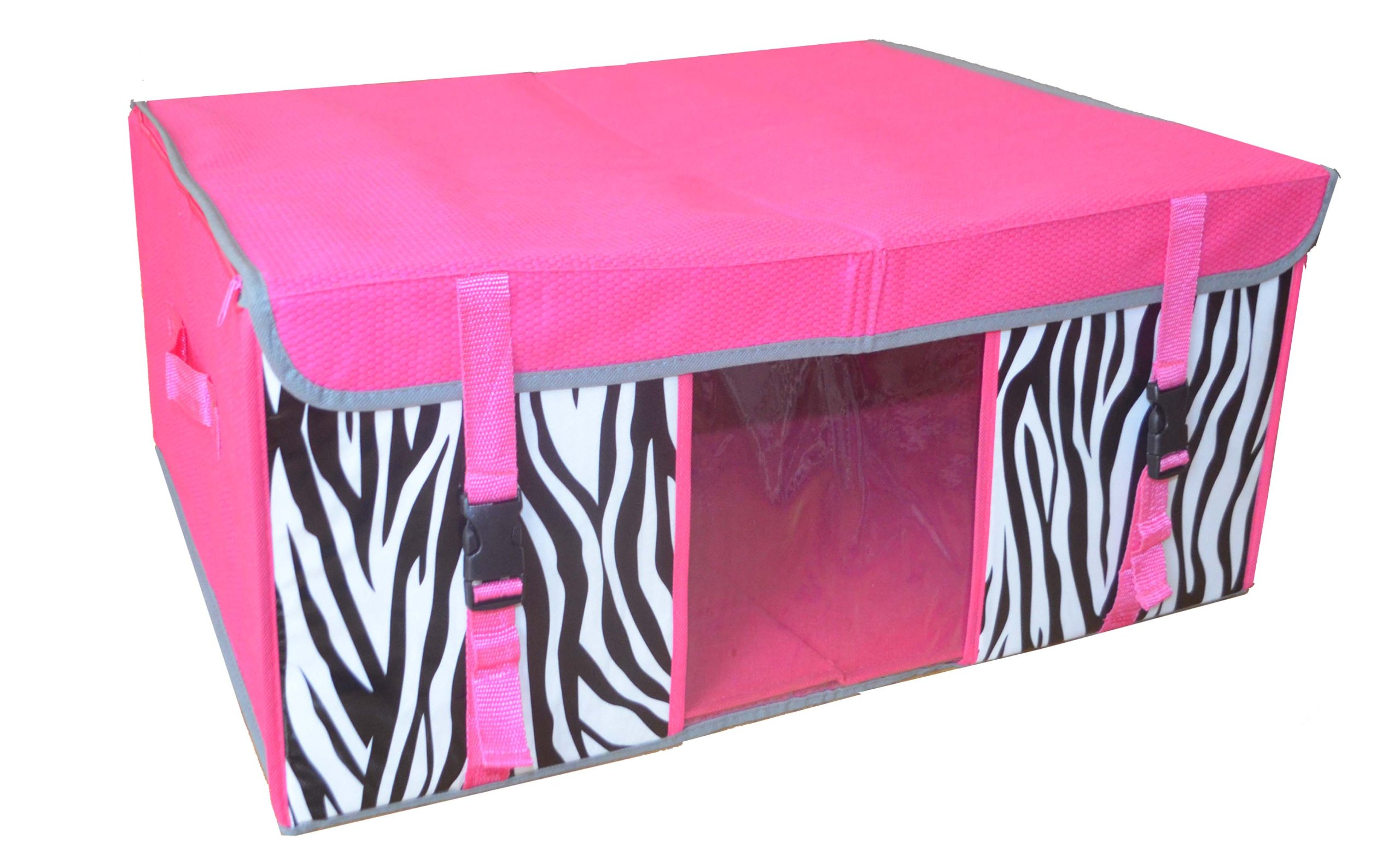 Collapsible Jumbo Storage Chest. Pink W/zebra Pattern. Item # 29-001