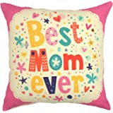 YOUR SMILE Mother's day Cotton Linen Square Decorative Throw Pillow Case Cushion Cover 18x18 Inch(45CM45CM) (Best mom ever)