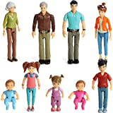 Beverly Hills Doll Collection Sweet Li'l Family Dollhouse People Set of 9 Action Figure Set - Grandpa, Grandma, Mom, Dad, Sis