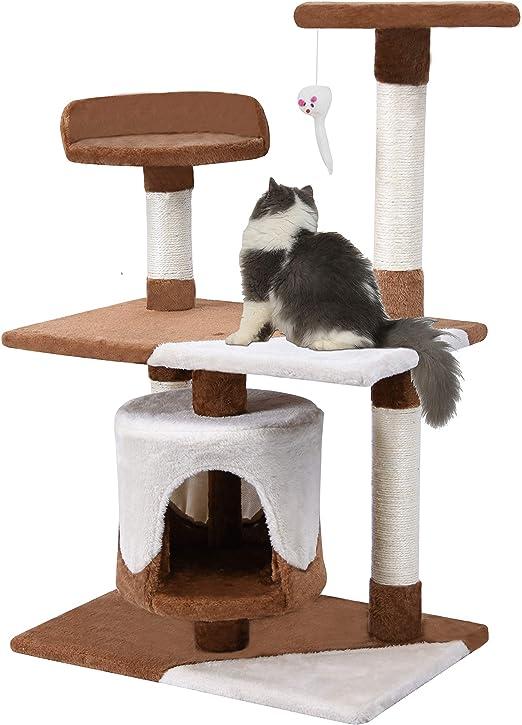 KExing Árboles para Gatos Sisal Plush Medio Alto 95 cm Marrón & Beige: Amazon.es: Productos para mascotas