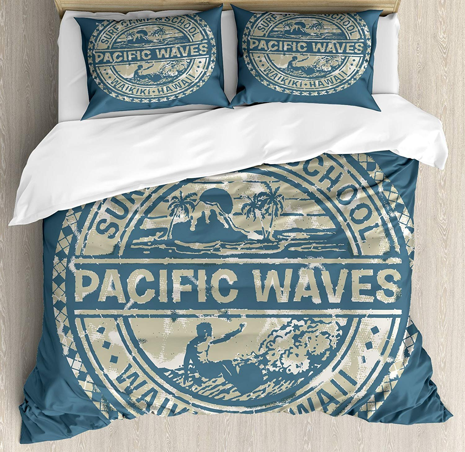 Anzona Full Size Modern 3 PCS Duvet Cover Set, Pacific Waves Surf Camp and School Hawaii Logo Motif with Artsy Effects Design, Bedding Set Bedspread for Children/Teens/Adults/Kids, Khaki Slate Blue