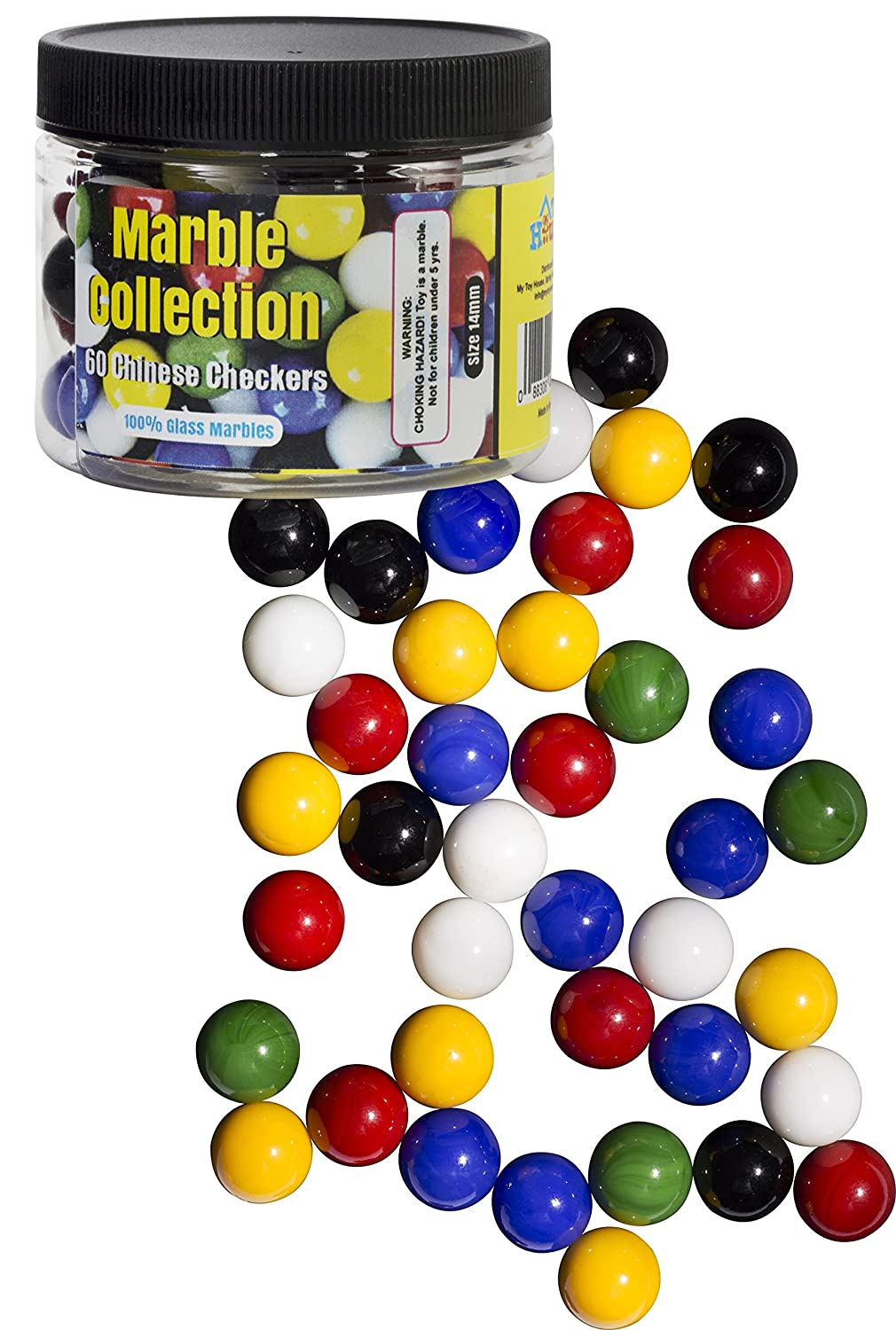 Chinese Checkers Glass Marbles Set of 60 10 of each Color with Portable Container