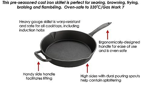 Sartén redonda de hierro fundido Euphoric Cookware, 30 cm, 3 ...