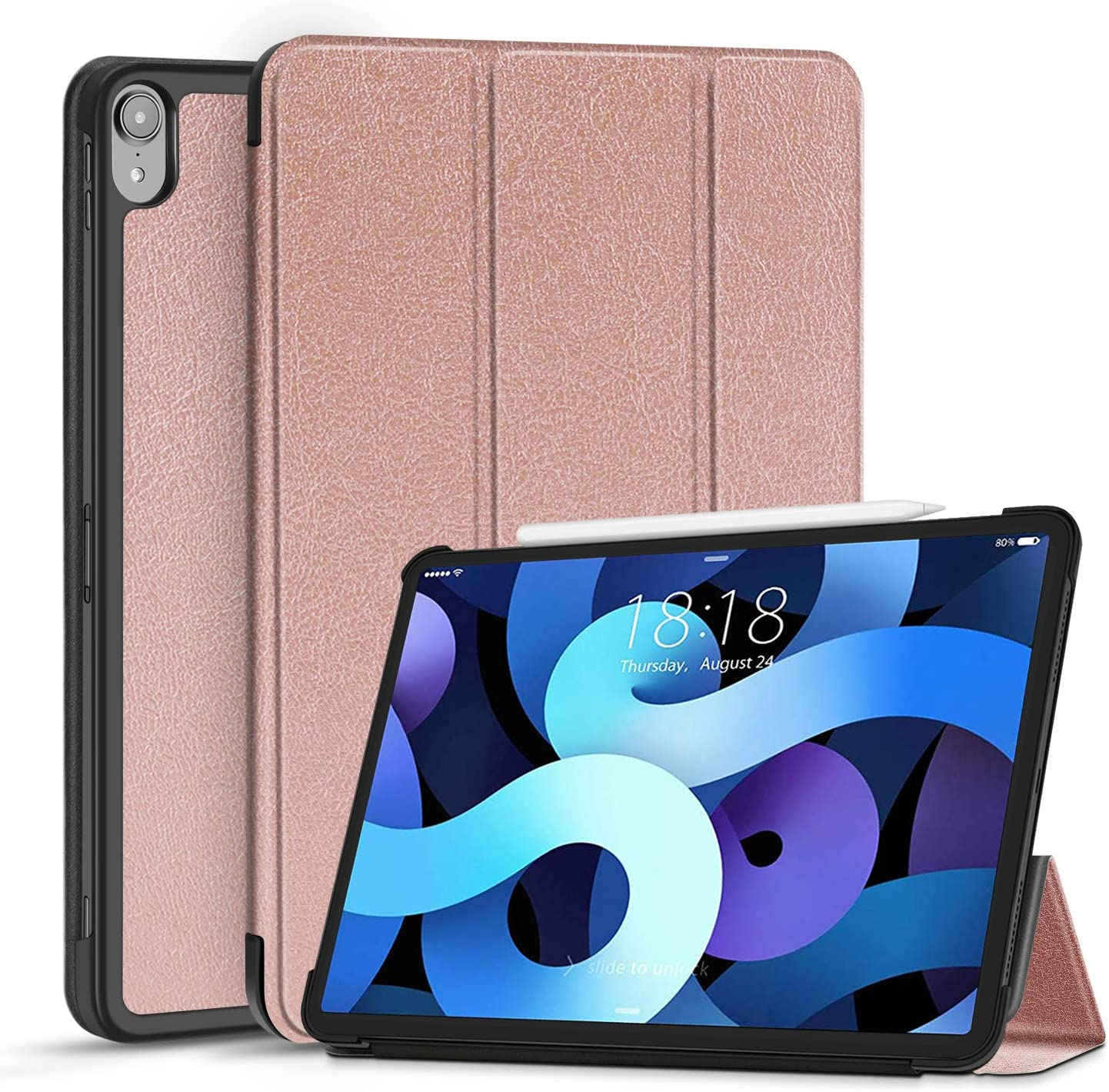 TNP Case for iPad Air 4 / 4th Generation 2020 Protective Cover 10.9 Inch Compatible with 2nd Gen Apple Pencil Charging - Trifold Stand Holder Slim Folio Sleeve Smart Auto Sleep Wake - Rose Gold