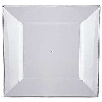 Efavormart 50 Pcs - Clear 10.75u0026quot; Square Disposable Plastic Plate  sc 1 st  Amazon.com & Amazon.com: Efavormart 50 Pcs - Clear 10.75