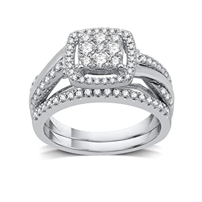 552ae267d6f2b DeCarat 3/4 CT.TW Diamond Sterling Silver Cluster Twist Shank Bridal Set