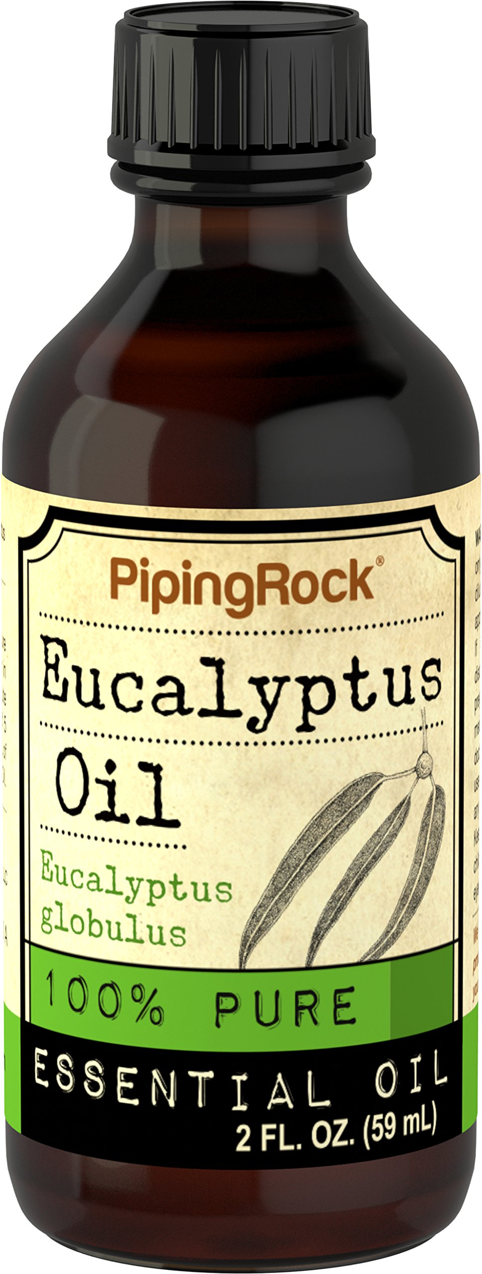 Piping Rock Eucalyptus 100% Pure Essential Oil 2 fl oz (59 ml) Bottle Eucalyptus Globulus Therapeutic Grade