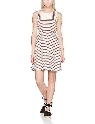 Vero Moda Vmoslo Stripe S/L Short Dress D2-3, Vestido para Mujer