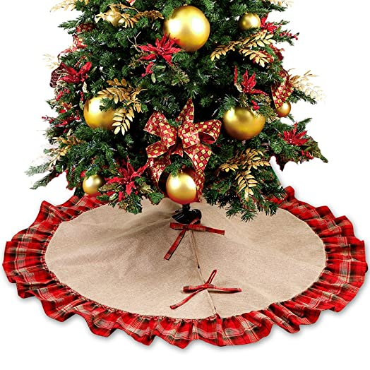 OurWarm 48 Inch Burlap Christmas Tree Skirt Base Cover Luxury Decorations Red And Black Plaid
