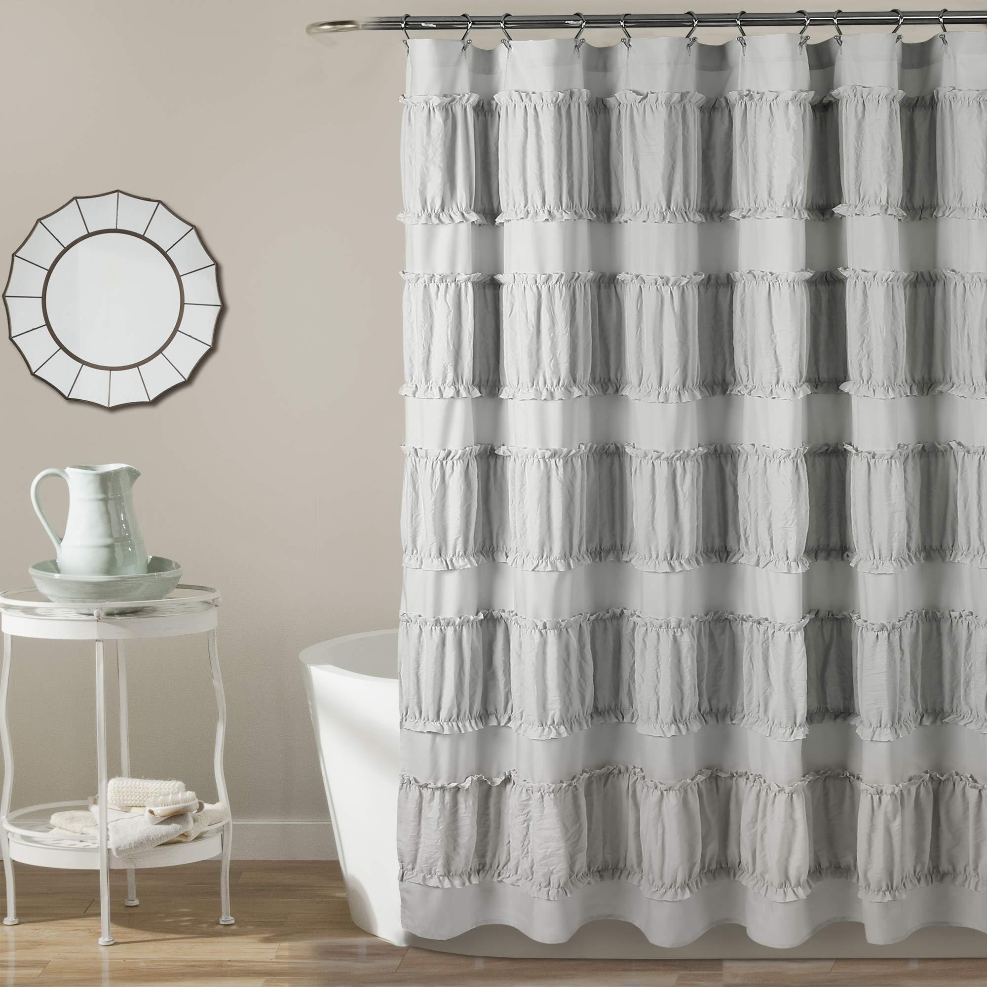 Lush Decor Nova Ruffle Shower Curtain, 72'' x 72'', Gray
