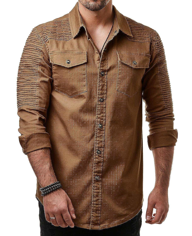 RDHOPE-Men Pleated Long Sleeve Pure Colour Denim Button Western Shirt