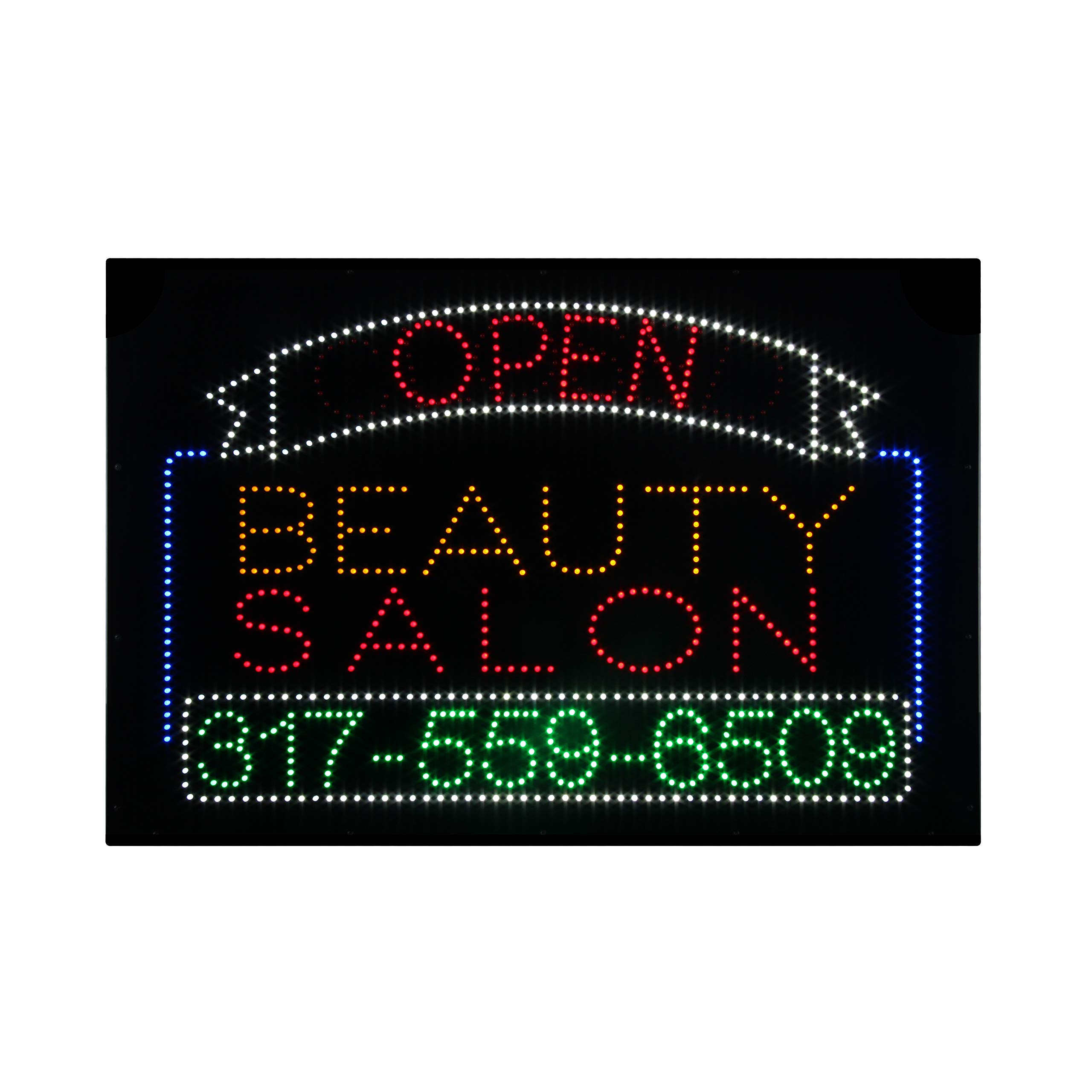 LED Beauty Salon Open Closed 2 in 1 Light Sign Super Bright Electric Advertising Message Display Board for Nails Spa Pedicure Facial Waxing Business Shop Store Window Bedroom 36 x 24 inches