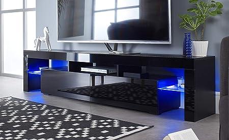 MMT Furniture Designs Ltd - Mueble de TV de 90 Pulgadas con Luces LED Azules para televisor de Plasma LCD de 50 55 60 65 70 75 80 90 Pulgadas de Ancho: Amazon.es: Hogar