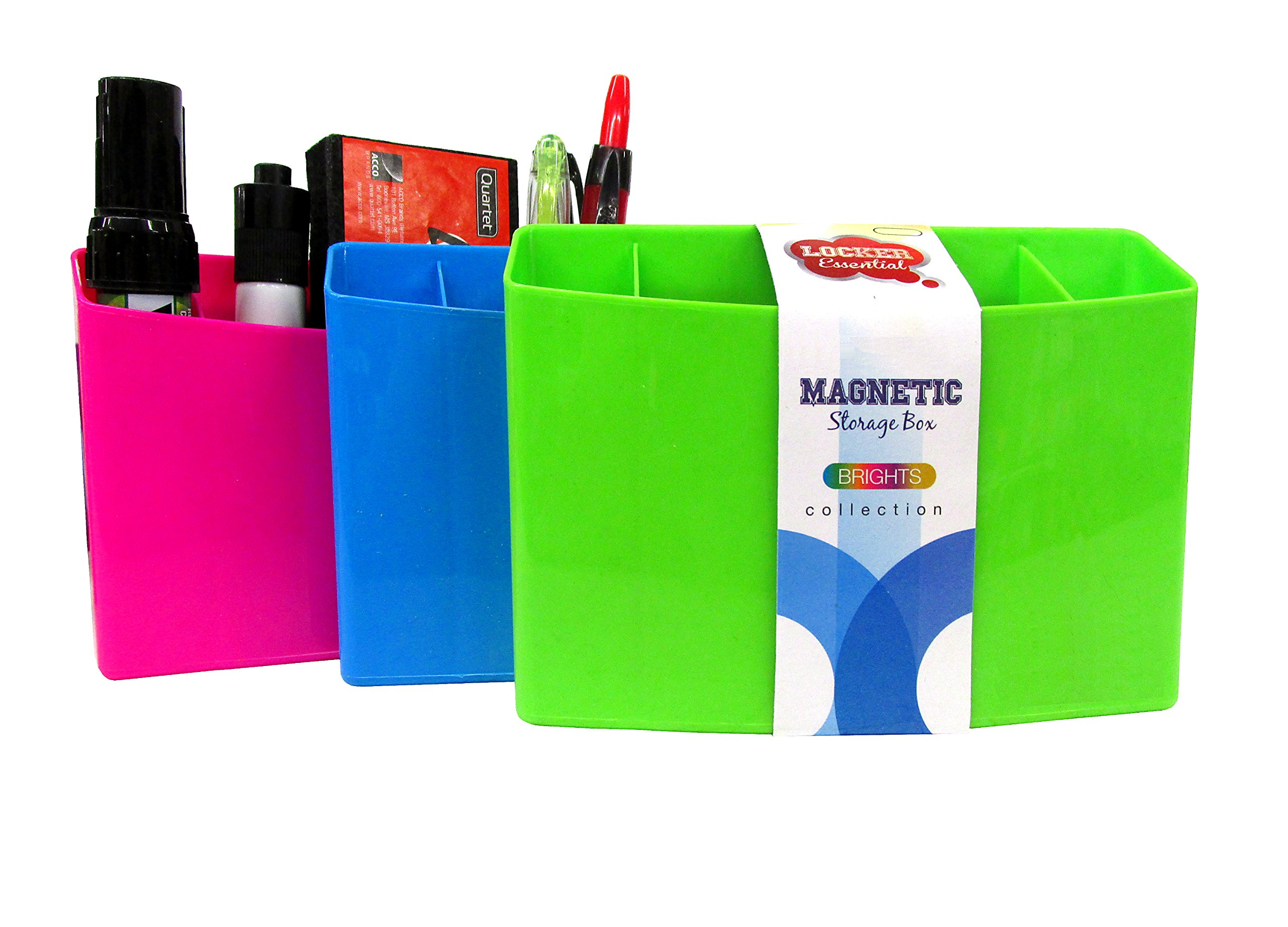 3 Section Magnetic Organizer / Locker Organizer - Pencil, Pen, Dry Erase Accessory Holder - Dimensions: Approximately 4'' x 5.5'' x 1.5'' (3-Pack, Colors Will Vary)