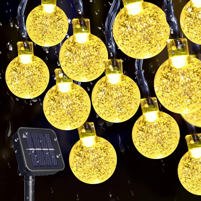 TYNLED Crystal Globe String Lights Outdoor, 60LED 36Ft Waterproof Solar String Fairy Lights Globe Crystal Balls Lighting for Home Garden Yard Patio Christmas Decoration