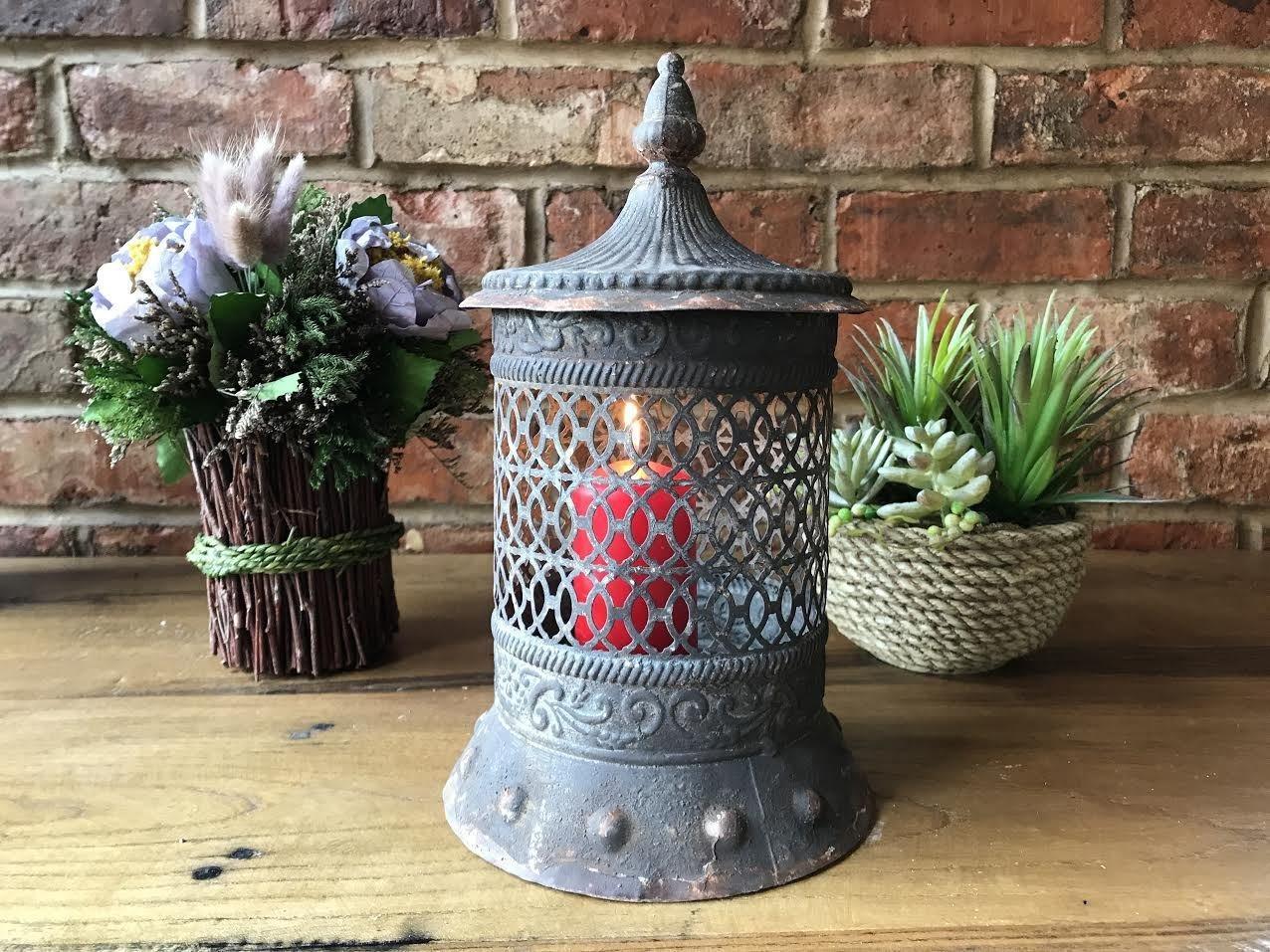 birmano antico vintage metal Pillar lanterna portacandele lampada candela tealight Giftwarez