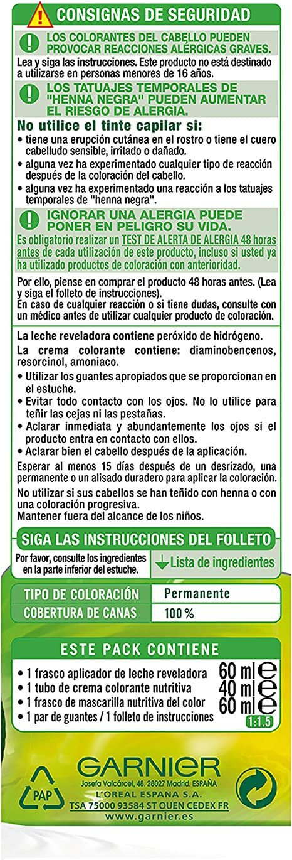Garnier Nutrisse Creme Coloración Nutritiva Permanente, Tinte 100% Cobertura de Canas con Mascarilla Nutritiva de 4 Aceites - Tono 5 Castaño Claro