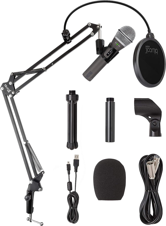 Samson Q2U USB XLR Dynamic Microphone for Windows, Mac, iOS Recording and Podcasting Bundle with Blucoil Boom Arm Plus Pop Filter