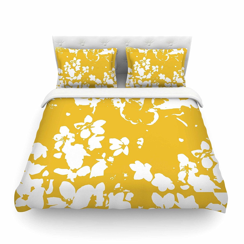 Kess InHouse Love Midge Helena Floral Yellow Featherweight Queen Duvet Cover 88 x 88,