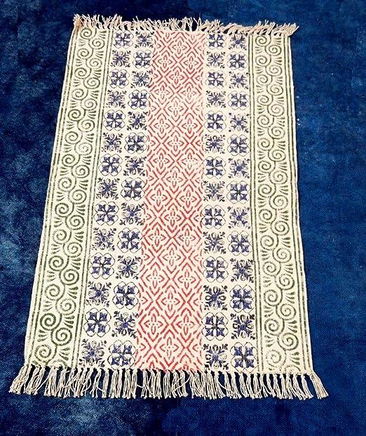 iinfinize – Alfombra de algodón 100% de 2 x 3 pies con diseño de Bloque de