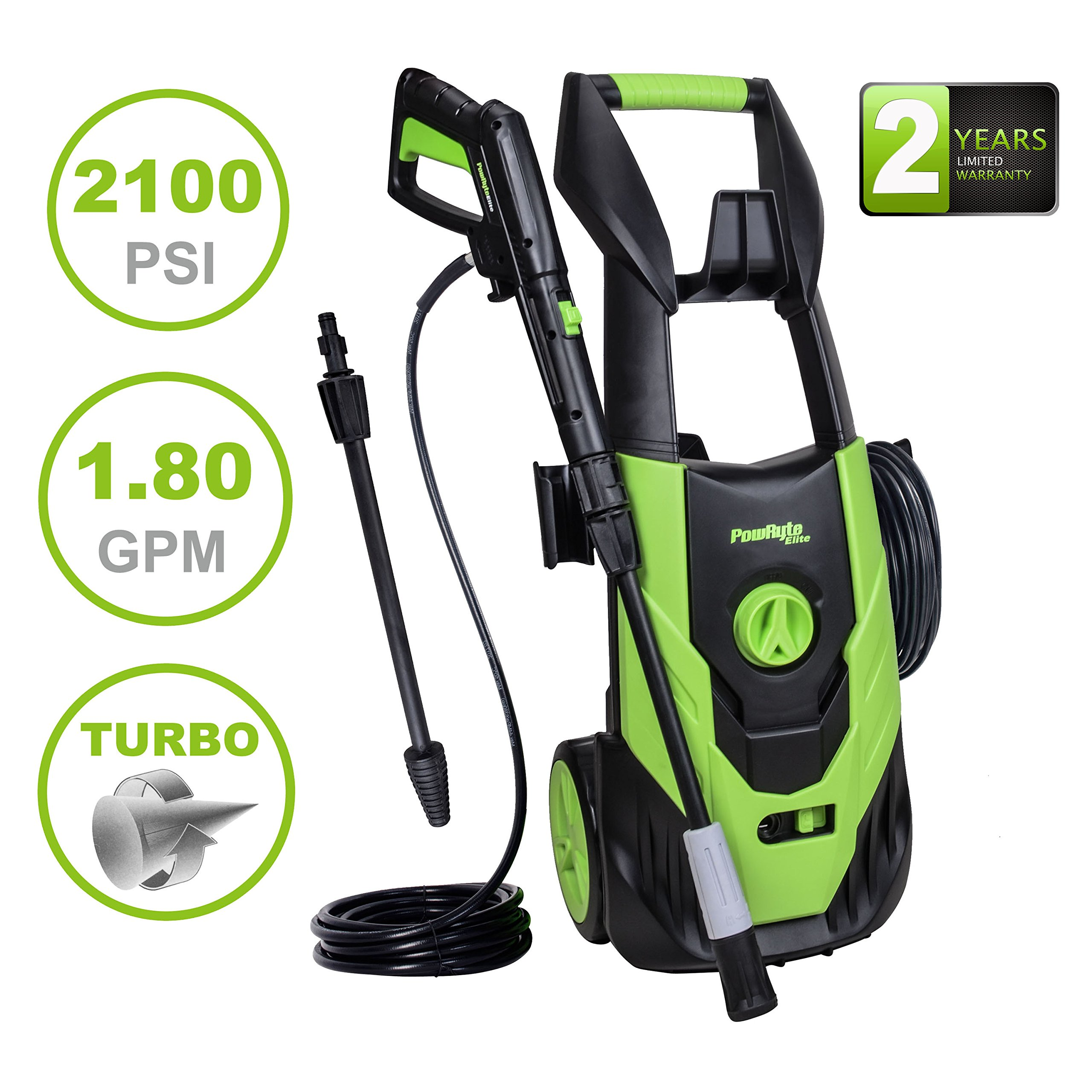 PowRyte Elite 2100PSI 1.8GPM Electric Pressure Washer with Adjustable Spray Nozzle, Extra Turbo Nozzle, Onboard Detergent Tank