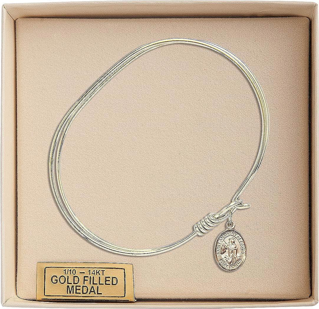 Anthony Of Egypt Charm On A 7 Inch Oval Eye Hook Bangle Bracelet St