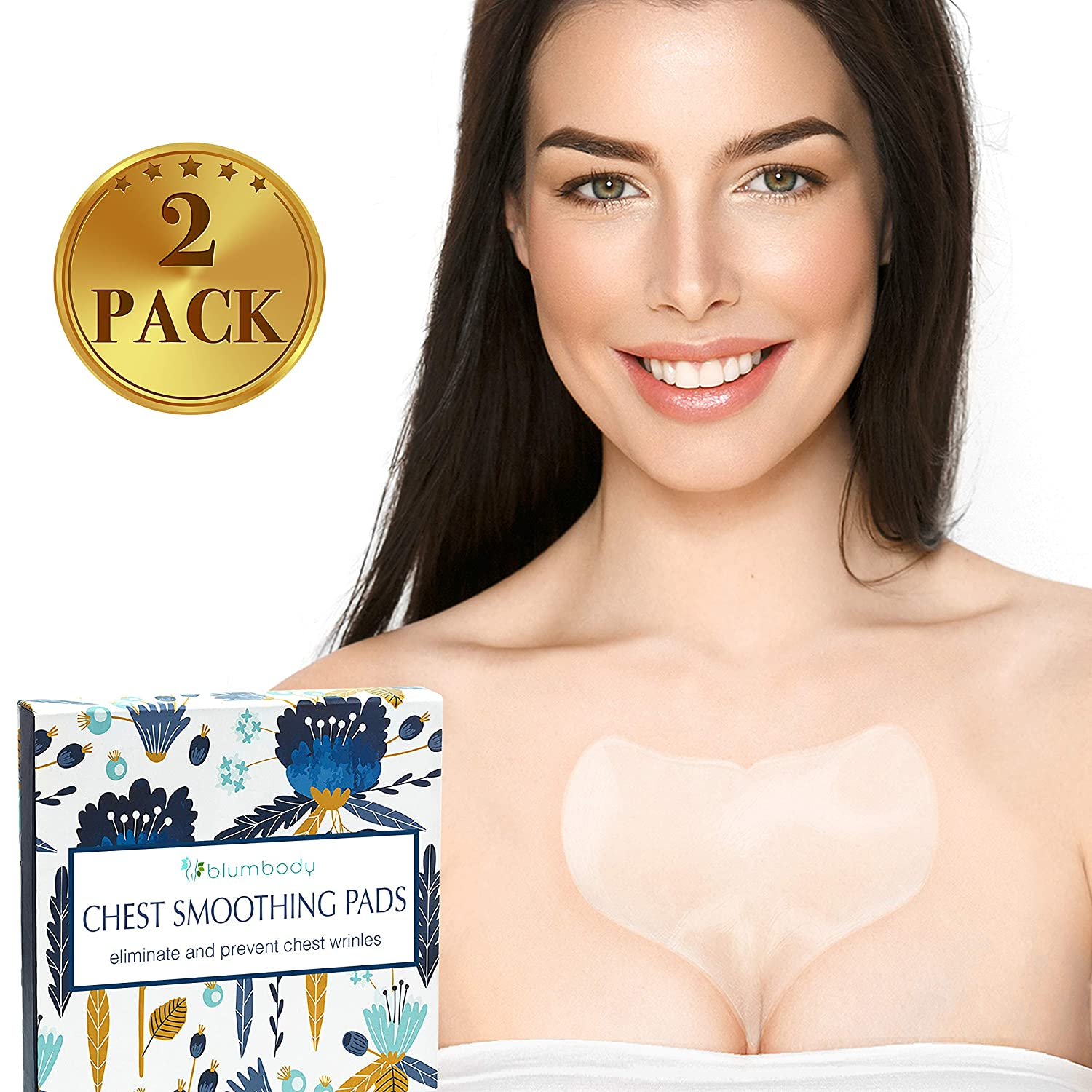 Decollete Pad for Chest Wrinkles - Set of 2 Silicone Chest Pads for Decollete and Cleavage Wrinkles Prevention - Reusable Overnight Anti Wrinkle Remover - 4 Eye Smoothing Patches Bonus
