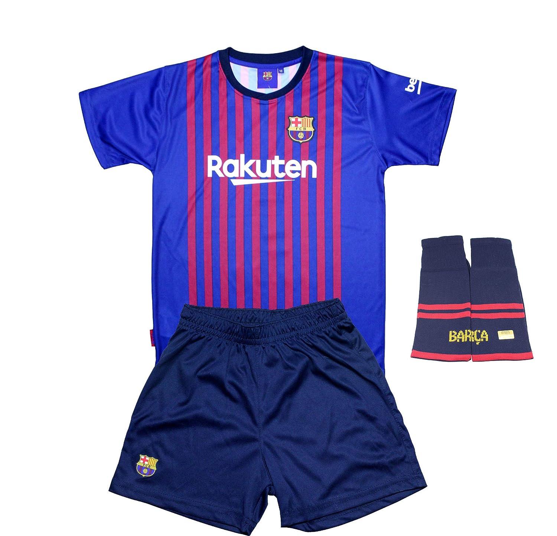 Komplette Real Infantil Barcelona FC Replik Offizielle Lizenzierte Zuerst Saison Ausrüstung 2018-19 Rückseite Messi 10