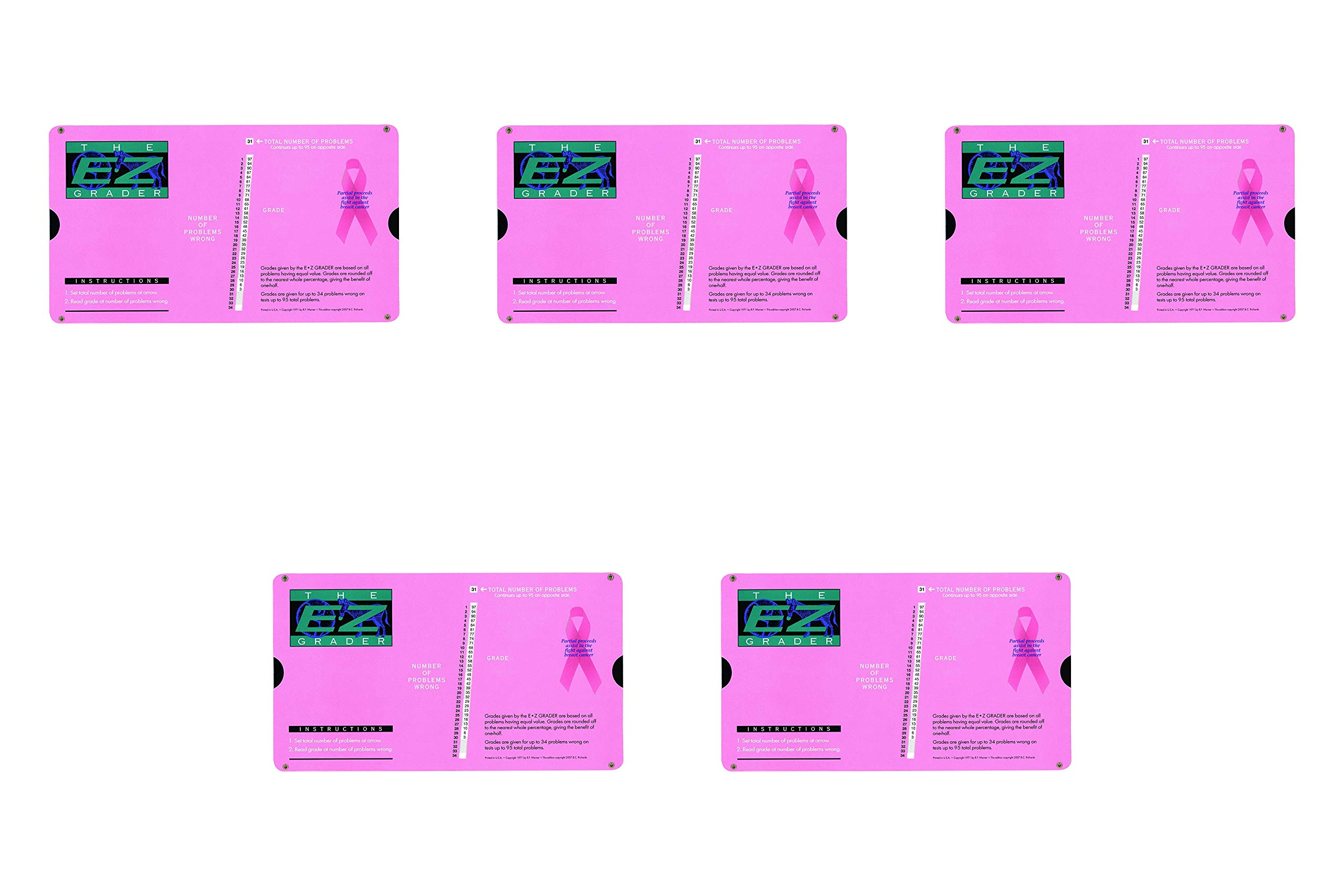Grading Calculator - E-Z Grader Teacher's Aid Scoring Chart - Breast Cancer Edition (Pink) - 8-1/2'' x 4-3/4'' (Вundlе оf Fіvе) by E-Z Grader (Image #1)