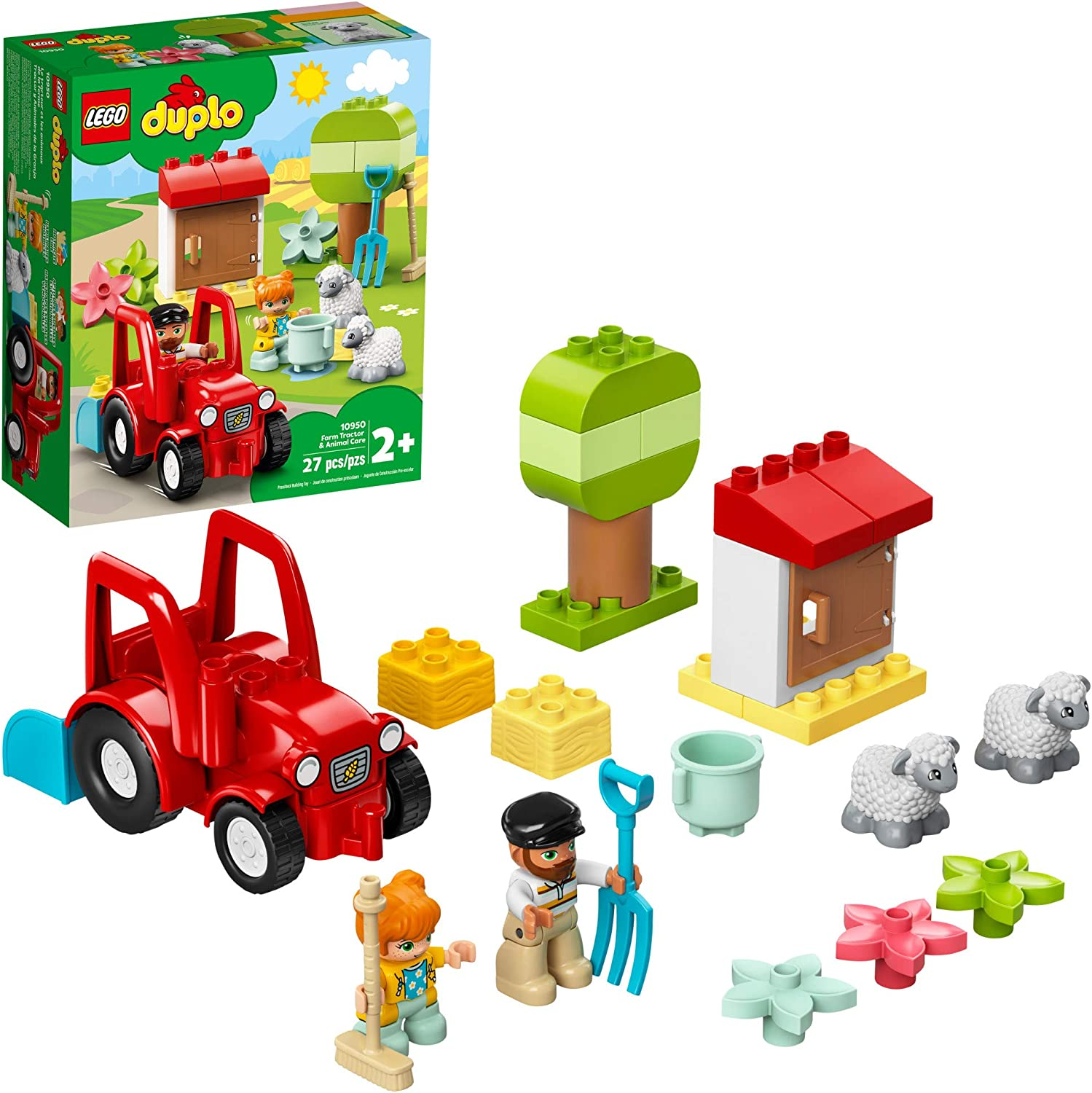 LEGO DUPLO Town Farm Tractor & Animal Care 10950 Creative Playset for Toddlers with a Toy Tractor and 2 Sheep, New 2021 (27 Pieces)