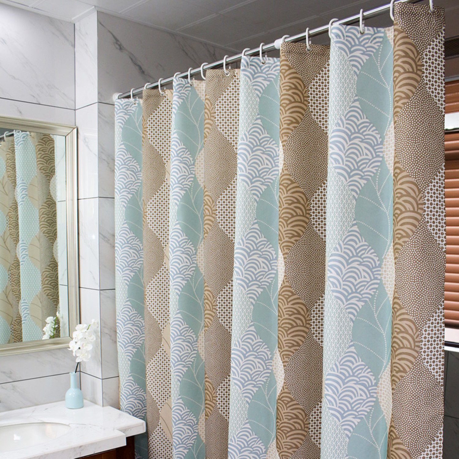 Striped Mold Mildew Resistant Bathroom Shower Curtains Wave Water-Repellent Mildewproof Polyester Fabric for Bathroom Shower Curtains and Bathtubs,Light Brown Beige Turquoise,72x72 inches