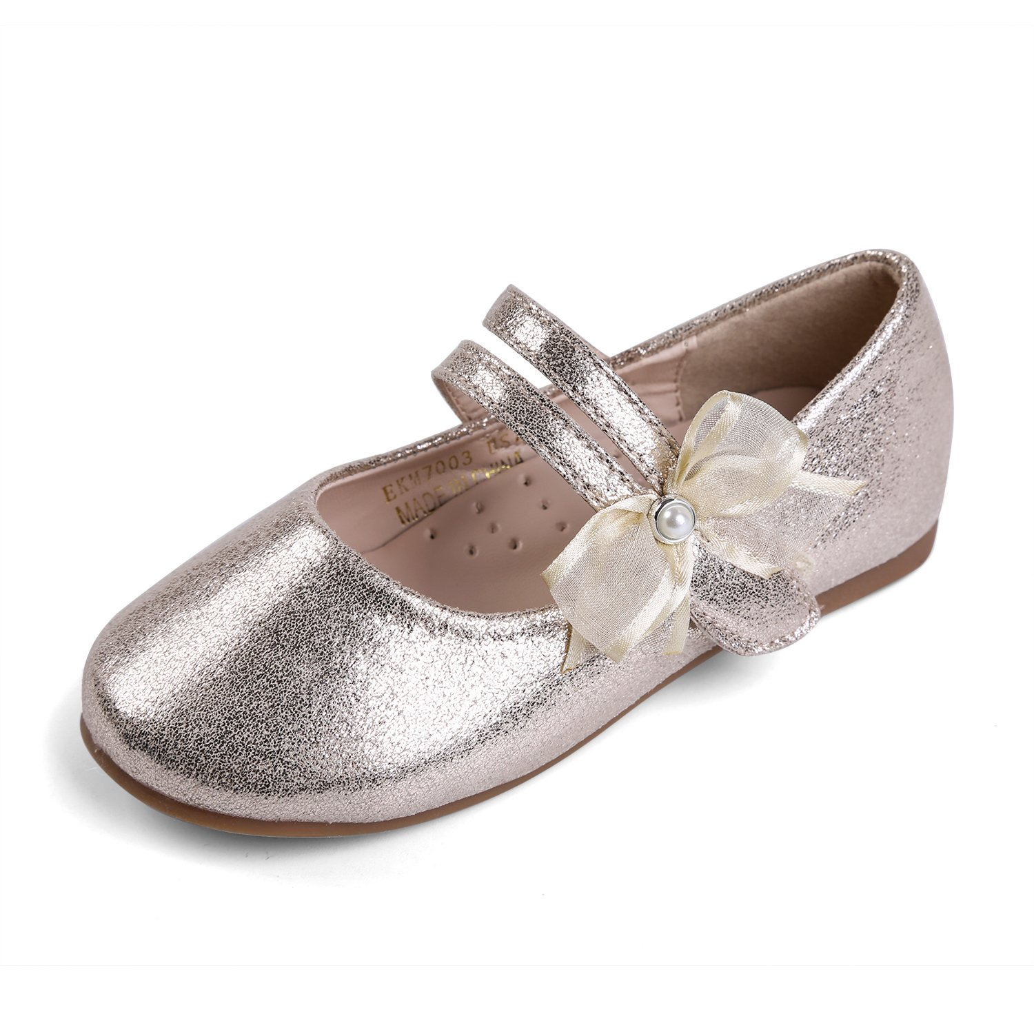 EIGHT KM EKM7003 Toddler & Girl's Ballet Flats Mary Janes Dress Shoes Gold-8