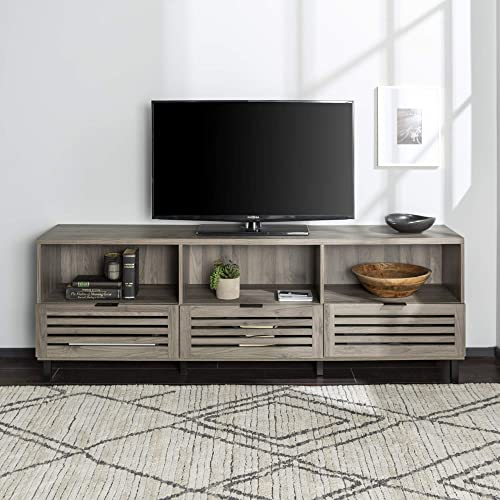 Walker Edison Furniture Company Modern Slatted Wood 80 Universal TV Stand for Flat Screen Living Room Storage Cabinets and Shelves Entertainment Center, Slate Grey