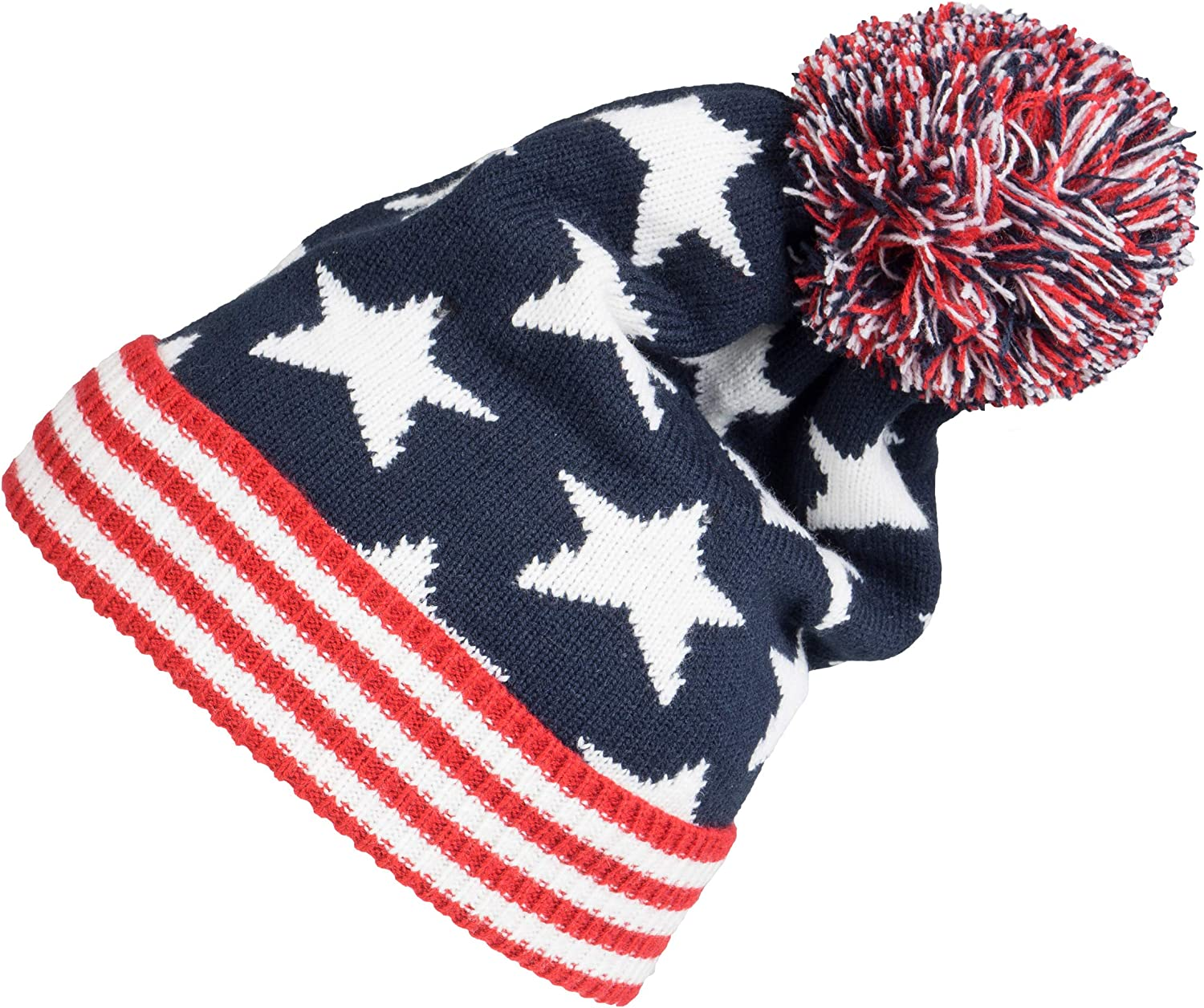 US America Flag Beanie Hat Patriotic Stars Stripes Kintted Stretchable Cap
