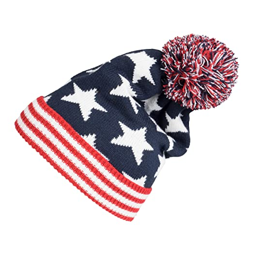 9fe7b78a7 Winter 2ply Stars Striped Thick Knit USA Flag Beanie Skull Ski Hat Cap Navy  Red