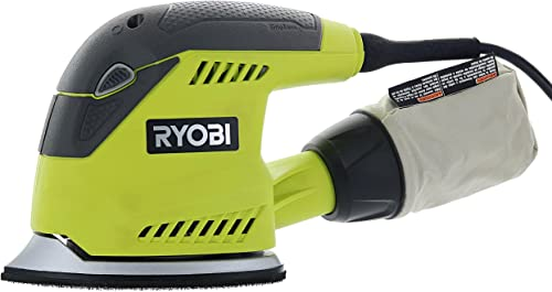Ryobi CFS1503GK Compact Corner Cat 12,500 OPM 1.2 Amp Corded Orbital Finishing Sander w 10 Pads and Carrying Case