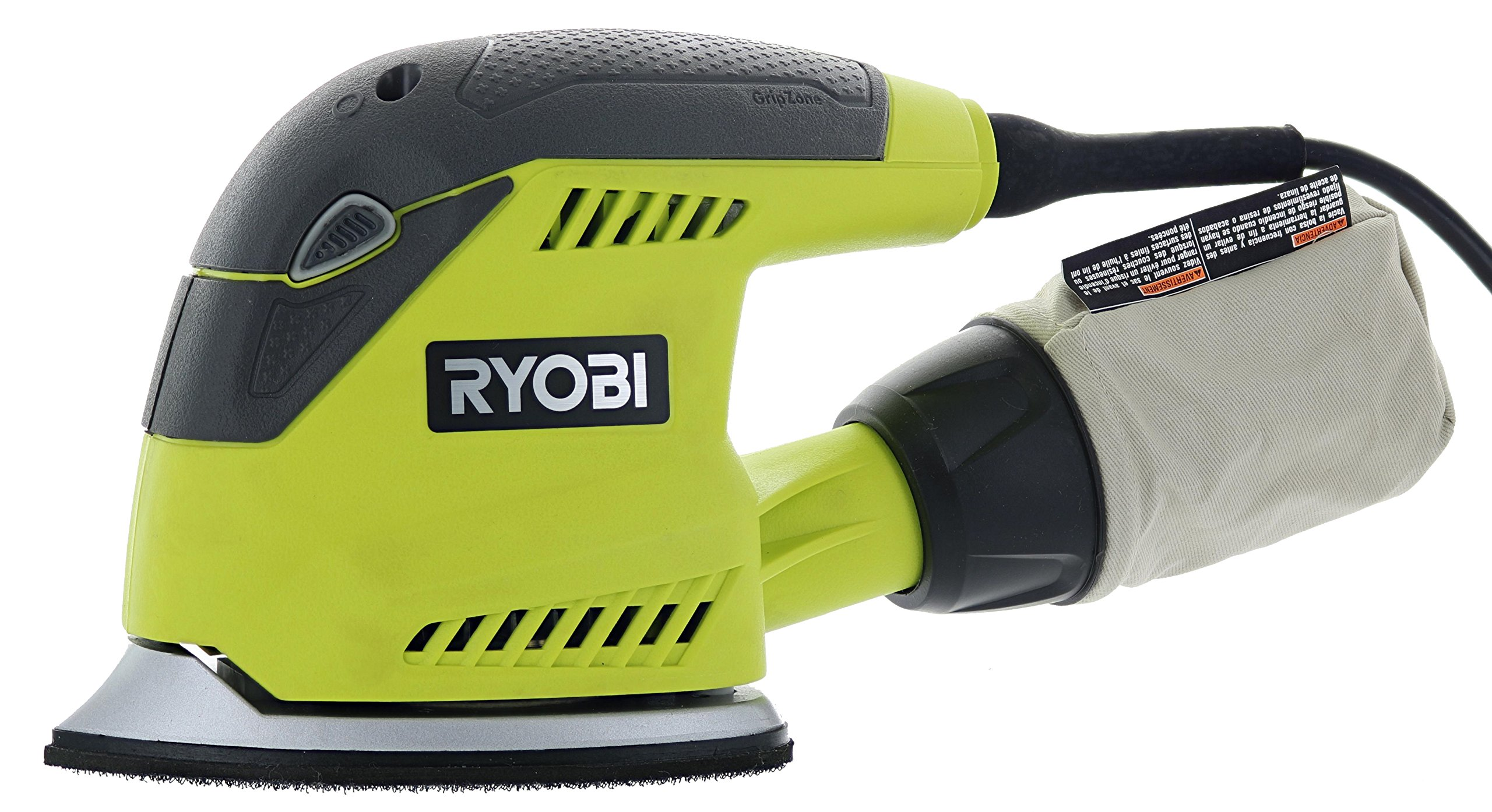 Ryobi CFS1503GK Compact Corner Cat 12,500 OPM 1.2 Amp Corded Orbital Finishing Sander w/ 10 Pads and Carrying Case