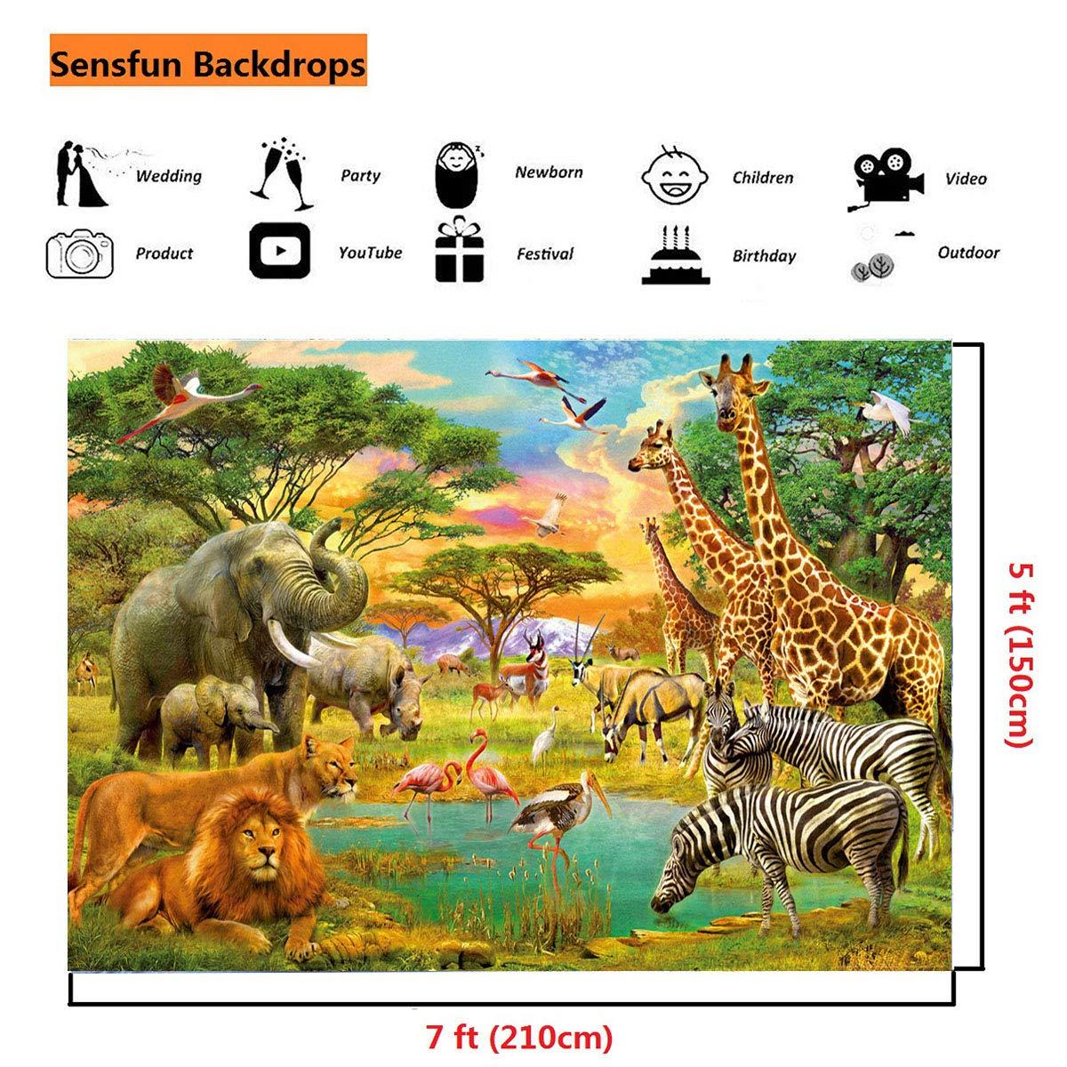 17d825e818d7 Amazon.com : Sensfun 7x5ft Jungle Animal Photography Backdrop Summer ...
