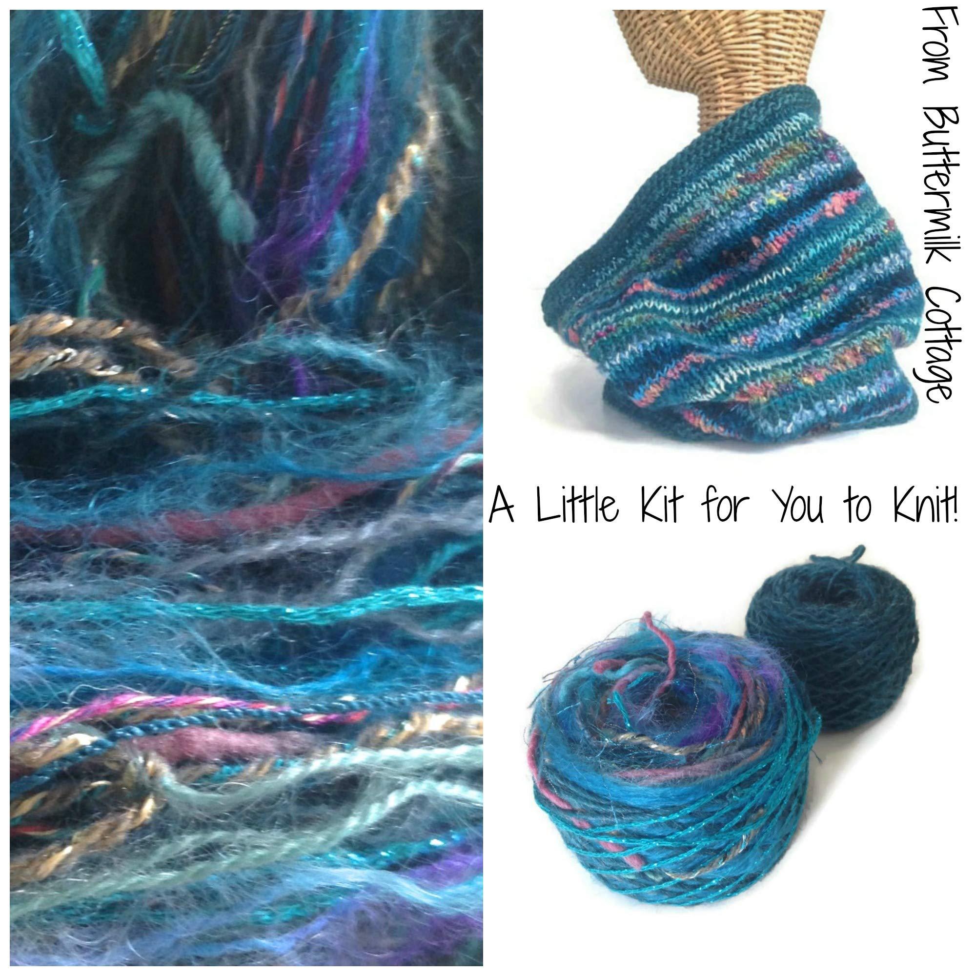 Boutique Yarn Cowl Knitting Kit Teal