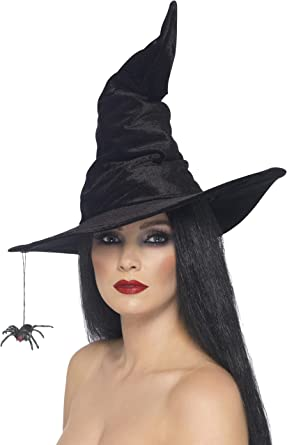 POINTED WITCHES HAT WITH SPIDER WITCH HAT WOMENS HALLOWEEN FANCY DRESS