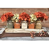 FALL Mason Canning JARS in Wood ANTIQUE WHITE Tray Thanksgiving Centerpiece with 5 Ball Pint Jar -Kitchen Table Decor -Distre