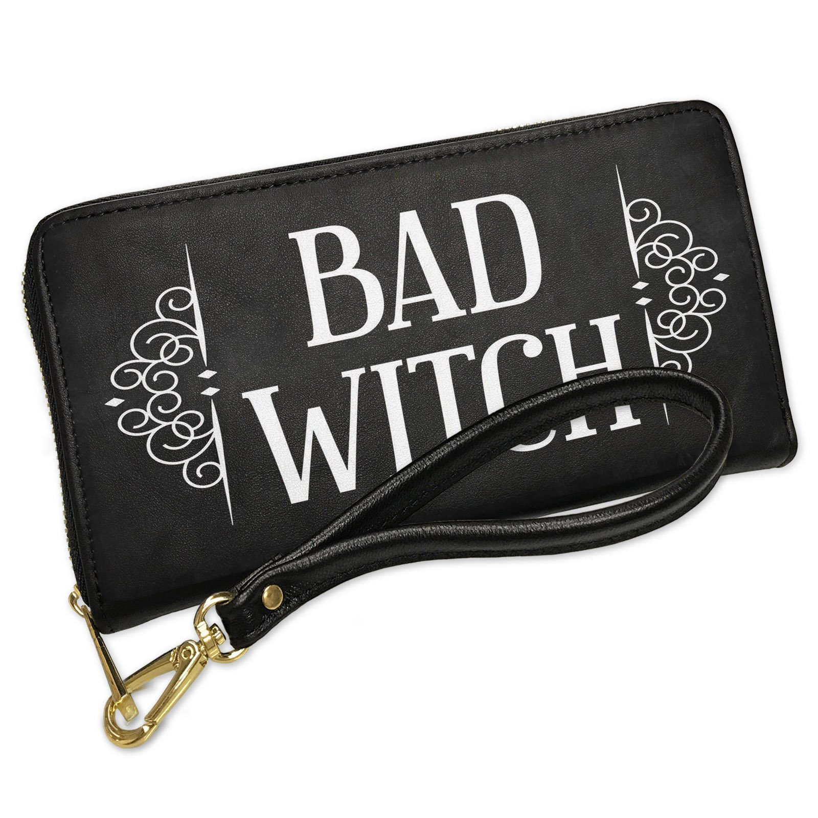 Wallet Clutch Bad Witch Halloween Haunting Flourish with Removable Wristlet Strap Neonblond