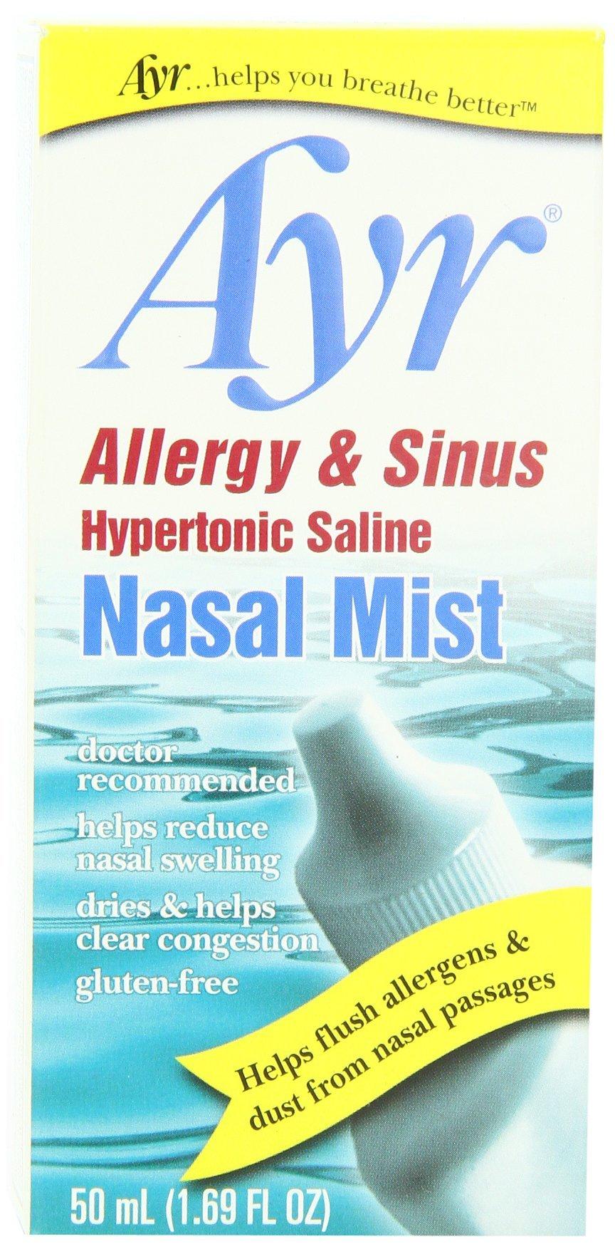 Ayr Allergy & Sinus Hypertonic Saline Nasal Mist, 1.69 Ounce Spray Bottle
