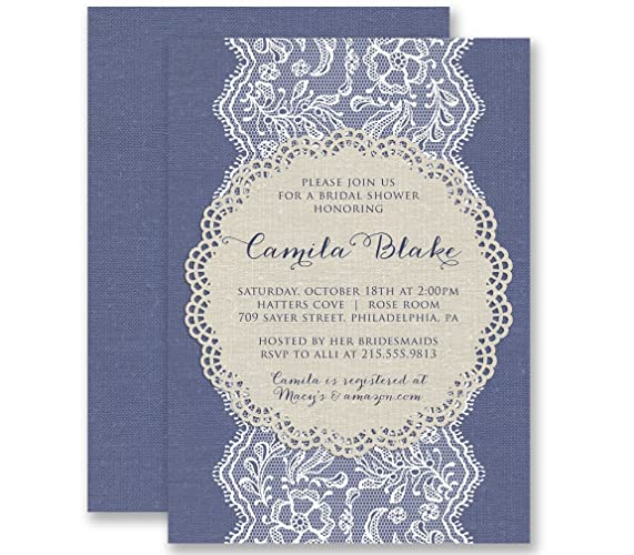 Amazon lace bridal shower invitations vintage blue linen look lace bridal shower invitations vintage blue linen look wedding personalized boutique invites with envelopes camila filmwisefo