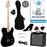 Stretton Payne Tele Style Electric Guitar Package with Amplifier, Padded Bag, Strap, Lead, Plectrums, Tuner, Spare Strings and Online Guitar Lessons. Guitar in Black