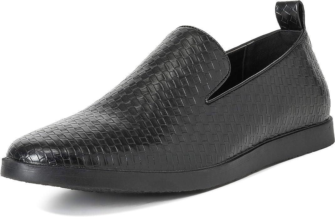 TALLA 40 EU. Hombres Queensberry Kingsley Tejido Verano Cuero Plano Ponerse Trabajo Zapatos