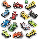 Prextex 16 pack Kids Racing Car Pull Back and Go Vehicles Great Easter Eggs Fillers or Stocking Stuffers and Toys for Boys Best Pull Back Racing Cars for Toddlers
