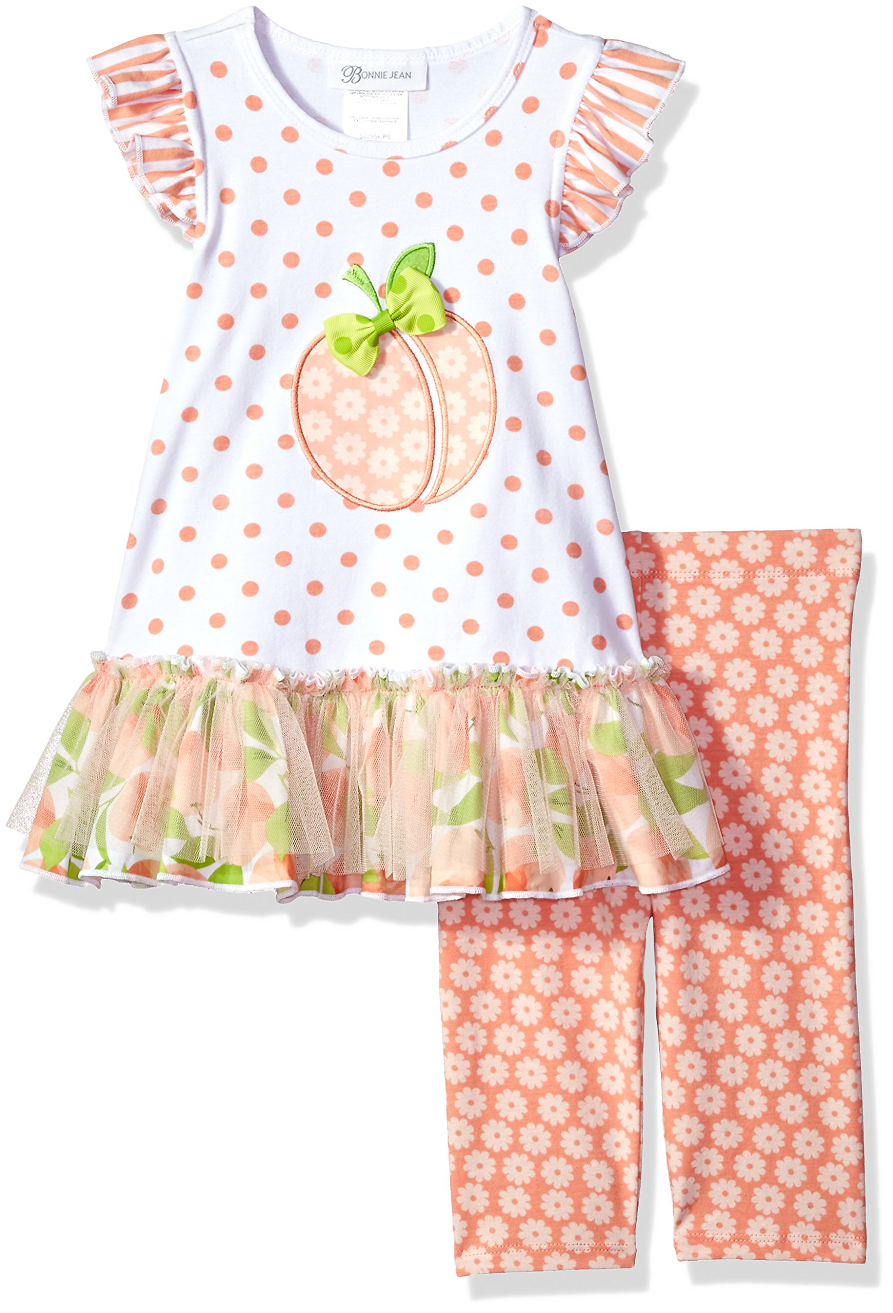 Bonnie Jean Little Girls' Appliqued Dress and Legging Set, Peach, 4