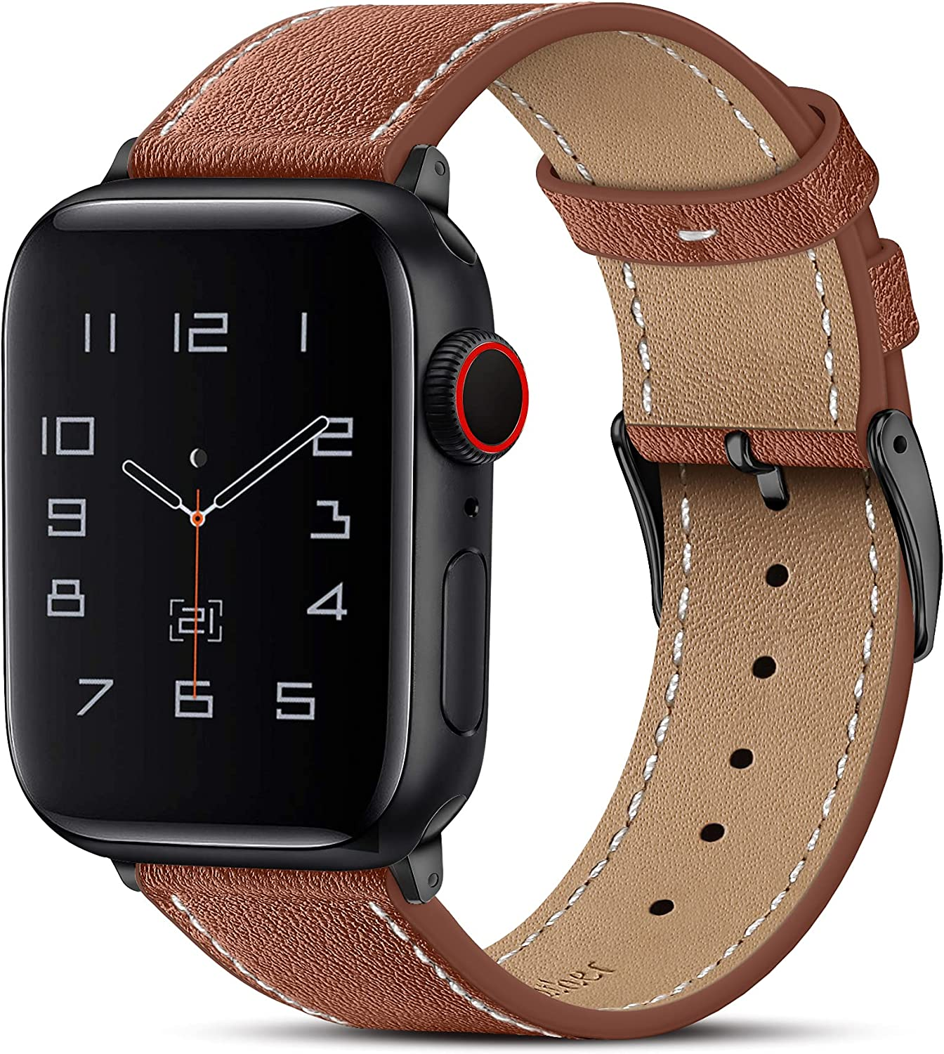 Marge Plus Compatible with Apple Watch Band 44mm 42mm 40mm 38mm, Genuine Leather Replacement Band for iWatch Series 6 5 4 3 2 1, SE (Retro Brown/Black, 44mm/42mm)